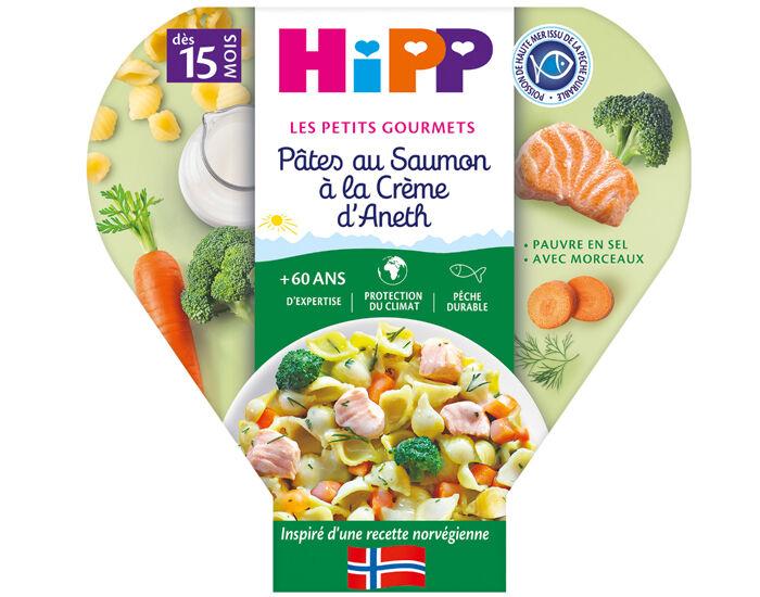 HIPP Assiette - Les Petits Gourmets - 250 g - Dès 15 mois Pâtes au Saumon à la Crème d'Aneth