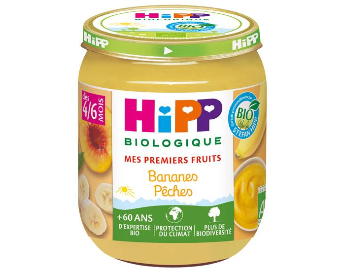 HIPP Mes Premiers Fruits - Pot 125 g - Dès 4/6 mois Bananes Pêches - 4/6 mois