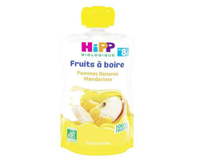 HIPP Gourdes Fruits à Boire - Dès 8 mois Pommes Bananes Mandarines