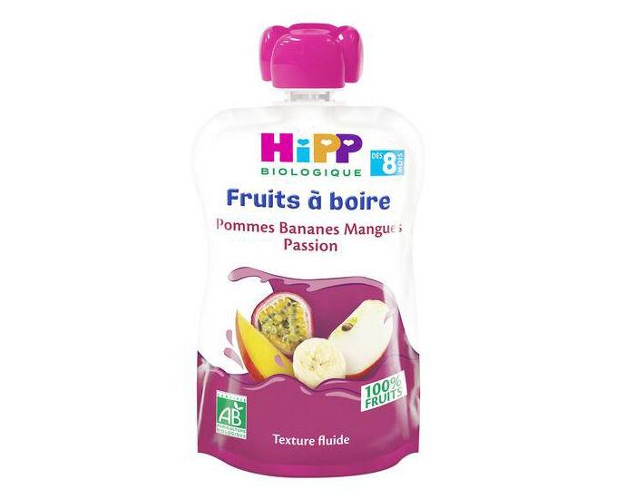 HIPP Gourdes Fruits à Boire - Dès 8 mois Pommes Bananes Mangues Passion