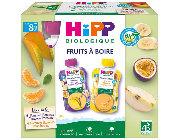 HIPP Gourdes Fruits à boire Multipack 2 Variétés - 8 x 90 ml - Dès 8 mois