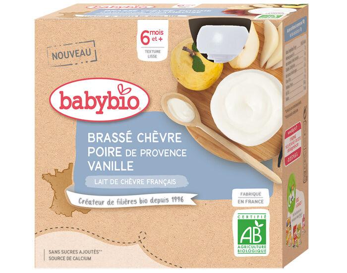 BABYBIO Gourde Brassé de Chèvre - Dès 6 mois - 4 x 85 g Poire de Provence Vanille - 6 mois