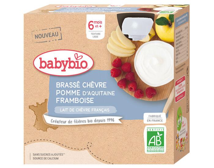 BABYBIO Gourde Brassé de Chèvre - Dès 6 mois - 4 x 85 g Pomme d'Aquitaine Fruits Rouges - 6 mois