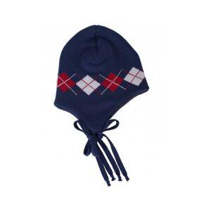 IOBIO Bonnet en Tricot de Laine Jacquard - Bleu Foncé Taille 0 : Naissance à 3 mois Tour de tête : 39/41