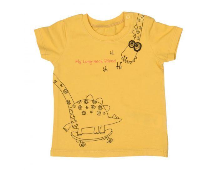 SEVIRA KIDS T-shirt - Haut Bébé  à Manches Courtes - Dino Skate 9-12M - 74CM