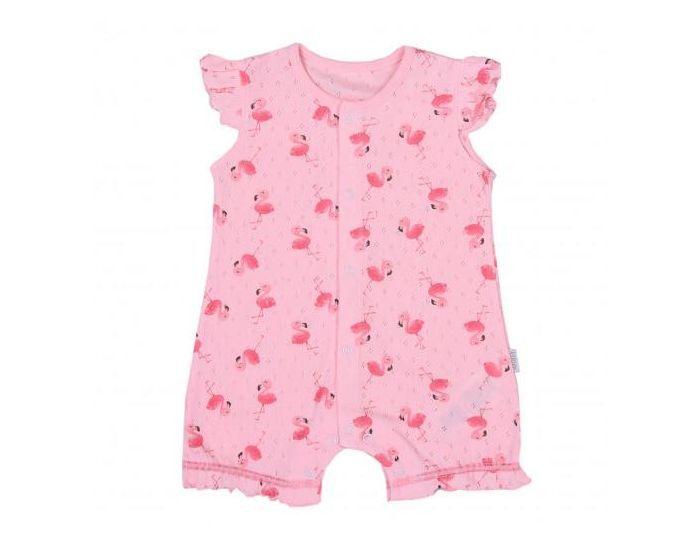 SEVIRA KIDS Combishort bébé fille en coton bio, Flamants roses 9-12M - 74CM