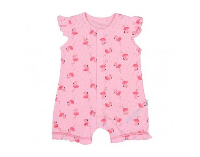 SEVIRA KIDS Combishort bébé fille en coton bio, Flamants roses 1-3M - 56CM