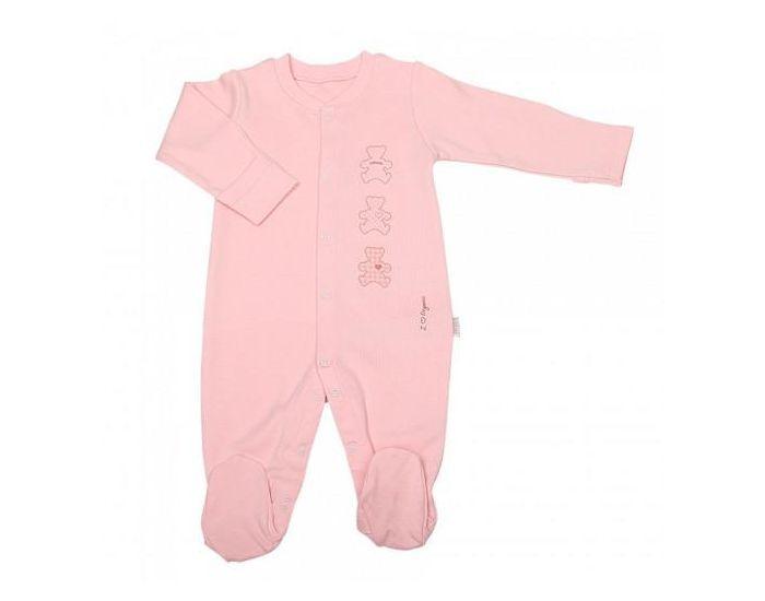 SEVIRA KIDS Pyjama Bébé en Coton Bio, BASIC Rose 3-6M - 62CM