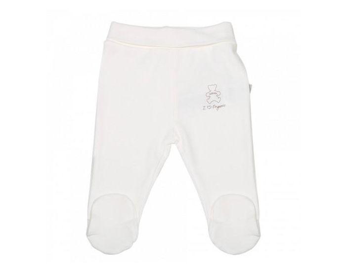 SEVIRA KIDS Pantalon Bébé à Pieds en Coton Bio, BASIC Ecru NAISSANCE - 50CM