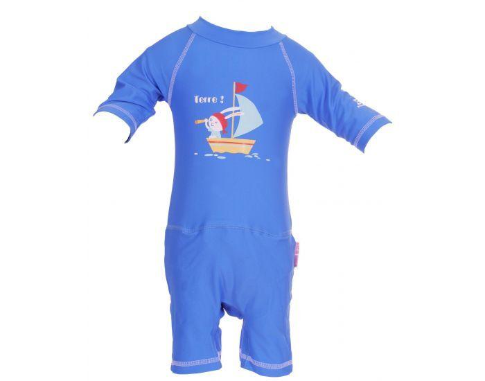 PIWAPEE Combinaison anti-UV 50+ avec couche anti fuite clipsable swim - Viking bleu ciel 8-11 KG ( 6-12M)