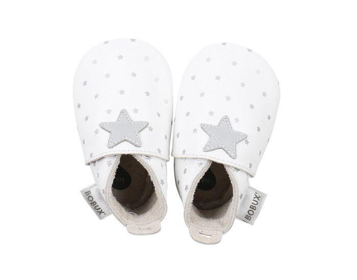BOBUX Chaussons Bébé Soft Soles en cuir - Blanc étoiles argentées L