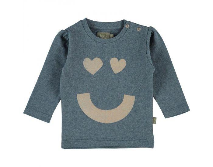 "KIDSCASE T-Shirt Bébé ""Happy"" en Coton Bio - Bleu-Gris Blanc 18 mois"