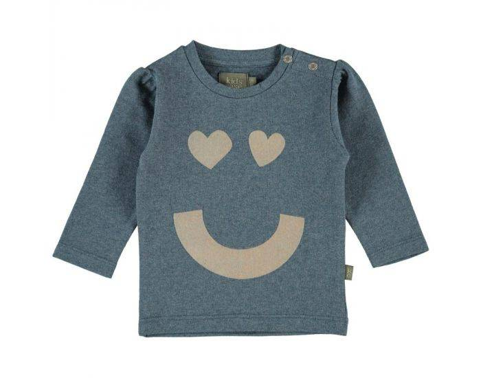 "KIDSCASE T-Shirt Bébé ""Happy"" en Coton Bio - Bleu-Gris Blanc 3 mois"