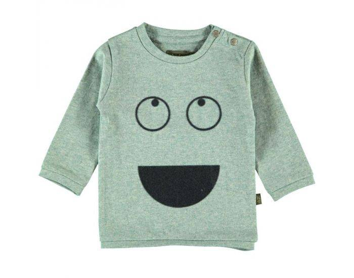 """KIDSCASE T-Shirt Bébé """"Smile"""" en Coton Bio - Gris-Vert  3 mois"""