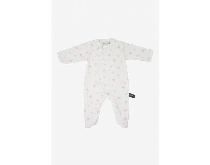 KADOLIS Pyjama Bébé en Coton Bio - Imprimé étoiles Rose pâle 1 mois
