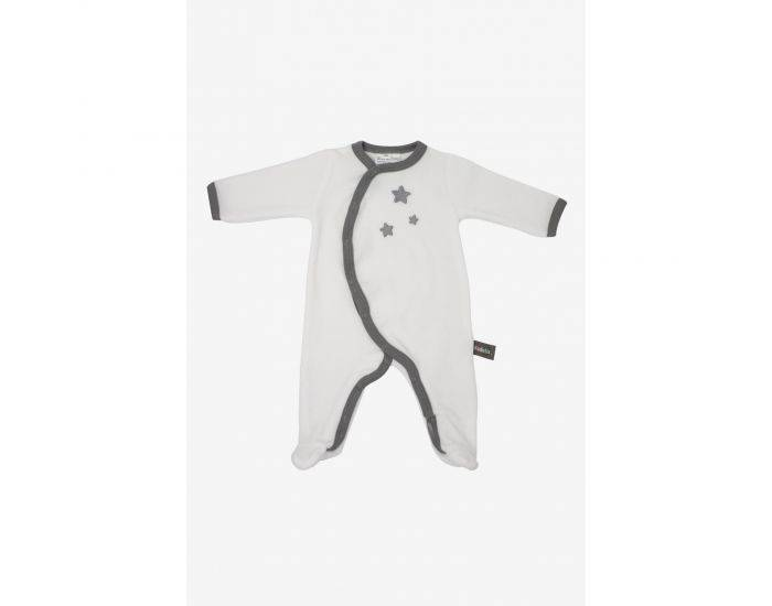 KADOLIS Pyjama Bébé en Coton Bio Blanc - Etoiles Gris 12 mois