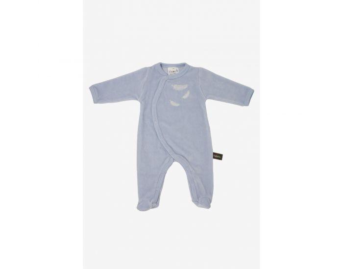 KADOLIS Pyjama Bébé en Coton Bio - Plumes blanches - Bleu ciel 6 mois