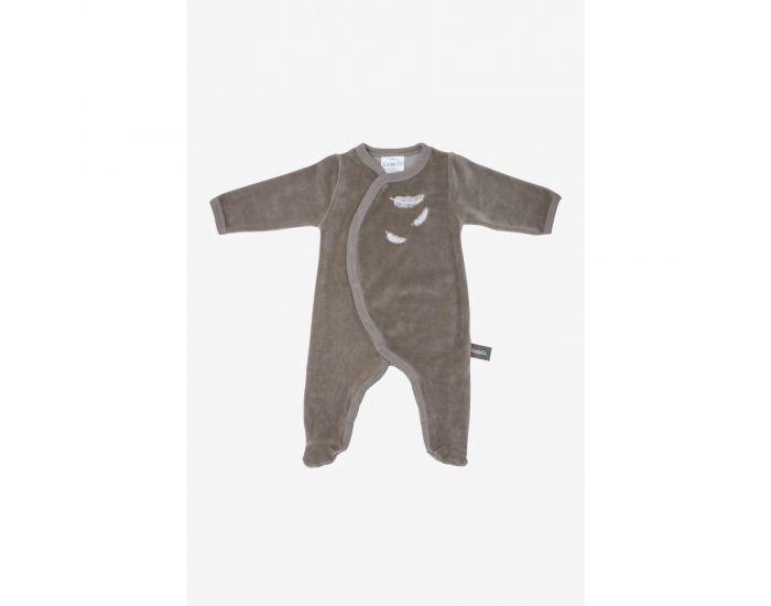 KADOLIS Pyjama Bébé en Coton Bio - Plumes blanches - Beige 0 Mois