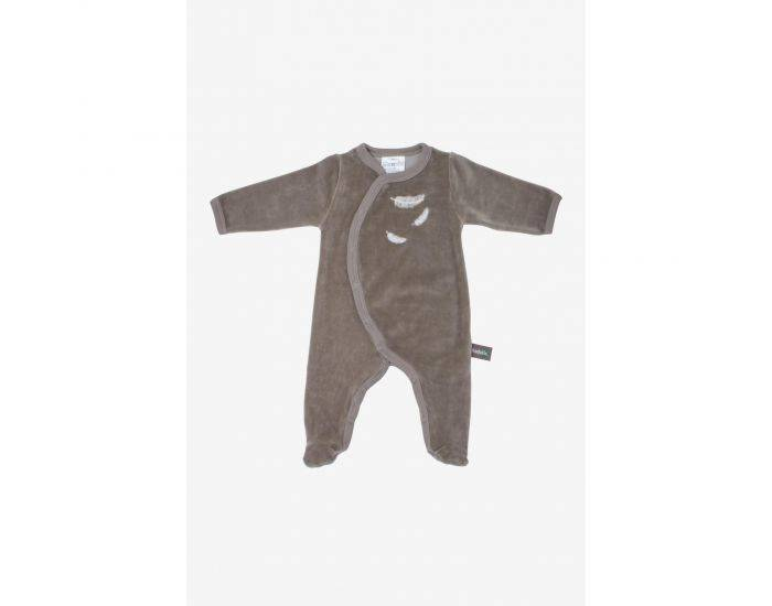 KADOLIS Pyjama Bébé en Coton Bio - Plumes blanches - Beige 12 mois