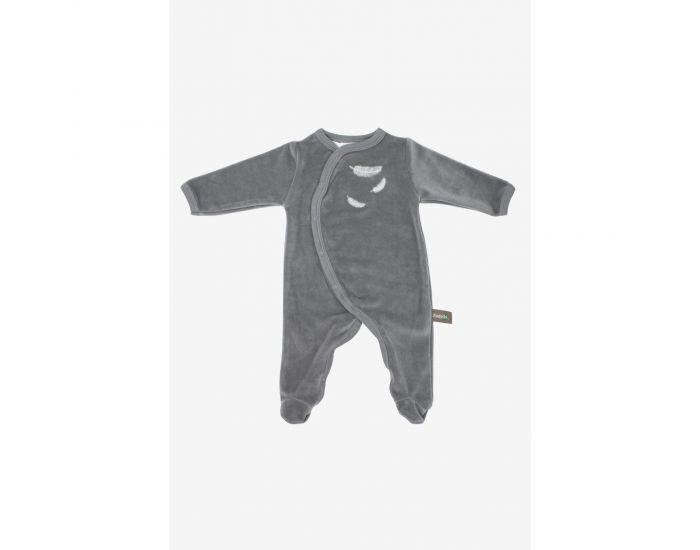 KADOLIS Pyjama Bébé en Coton Bio - Plumes blanches - Gris 9 mois