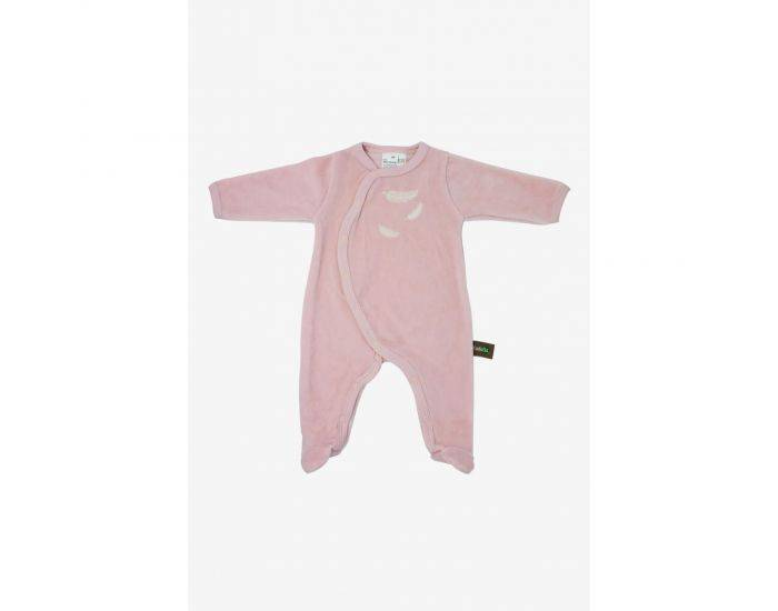 KADOLIS Pyjama Bébé en Coton Bio - Plumes blanches -  Rose pâle 6 mois