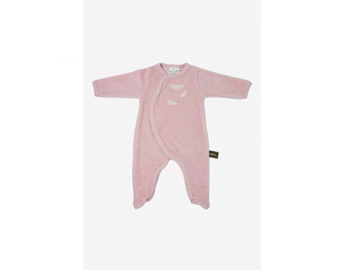 KADOLIS Pyjama Bébé en Coton Bio - Plumes blanches -  Rose pâle 9 mois