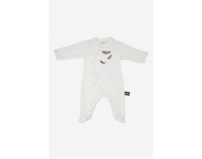 KADOLIS Pyjama Bébé en Coton Bio - Plumes colorées Beige 1 mois