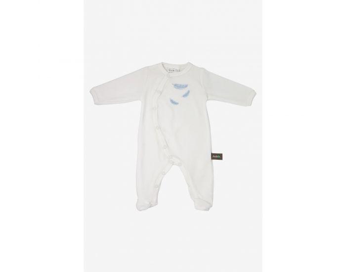 KADOLIS Pyjama Bébé en Coton Bio - Plumes colorées Bleu ciel 0 Mois