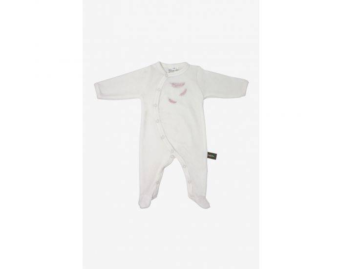 KADOLIS Pyjama Bébé en Coton Bio - Plumes colorées Rose pâle 12 mois