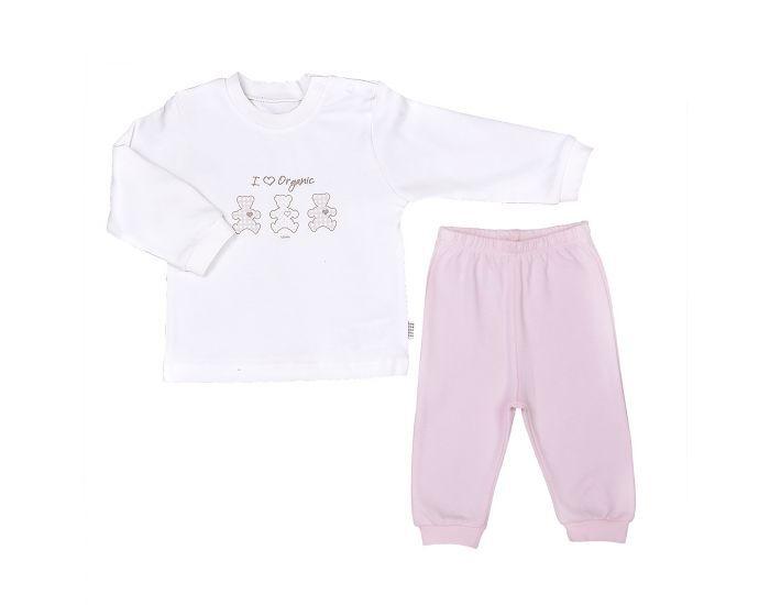 BEBESEO Pyjama 2 Pièces Rose 100% Bio Pull + Pantalon 9-12 mois