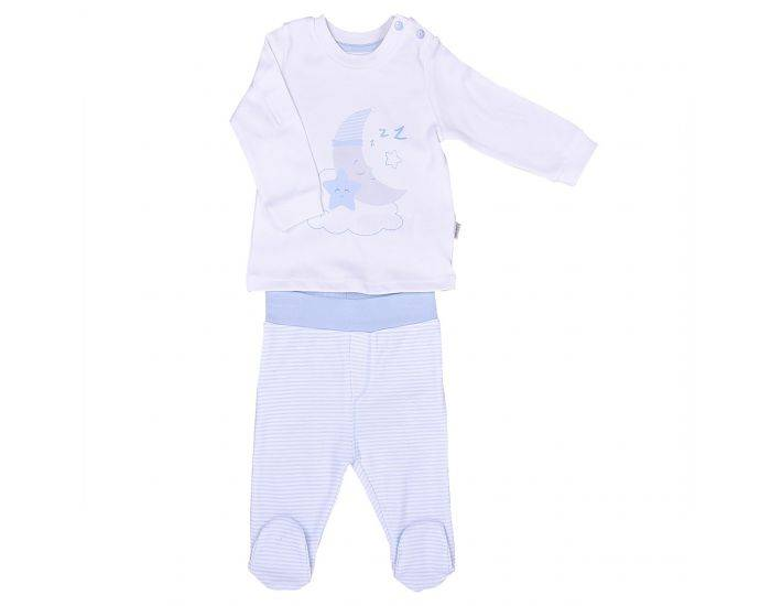 BEBESEO Pyjama 2 Pièces Bleu 100% Bio Pull + Pantalon 6-9 mois