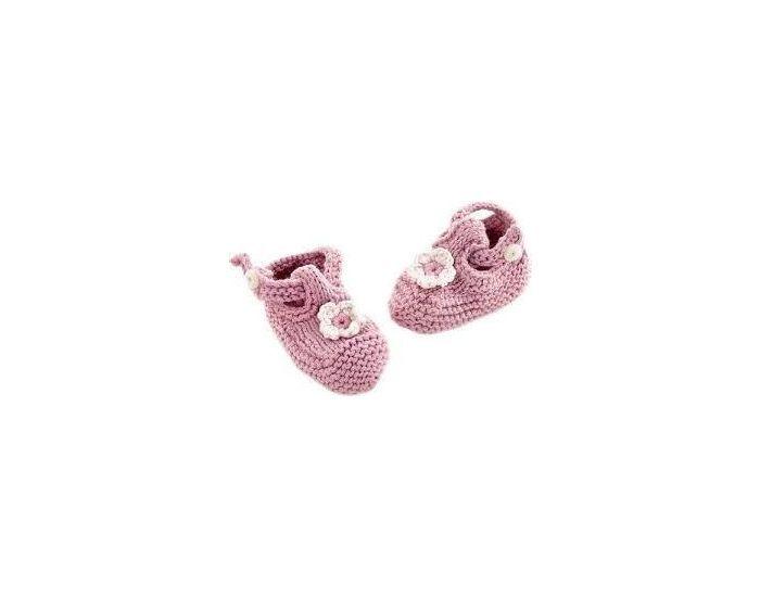 PEBBLE Chaussons en Coton Bio Equitables - Rose Poudré - 0-6 mois