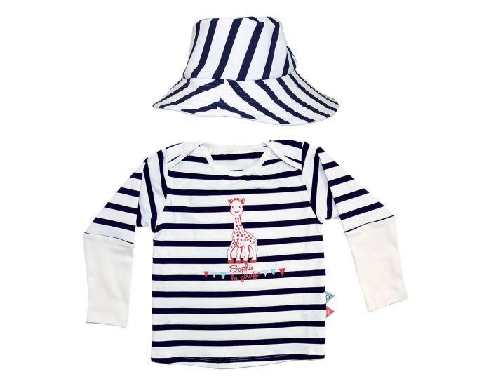 MAYOPARASOL Sophie® en Croisière Tee shirt Manches Longues et Chapeau Anti UV. Taille 6 mois