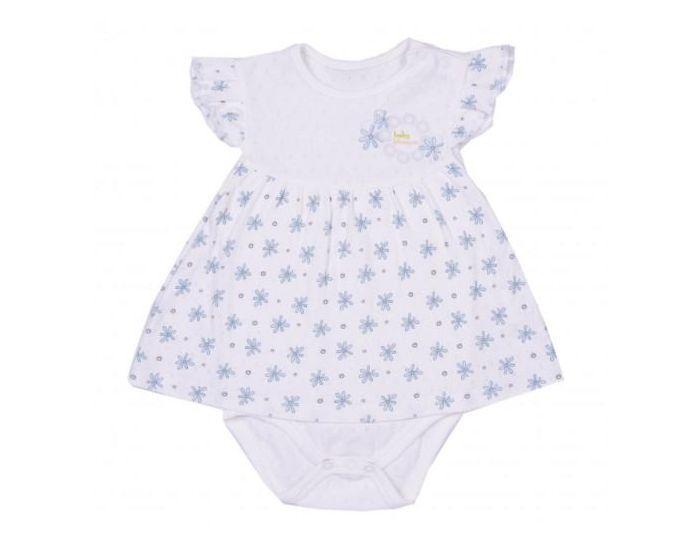 SEVIRA KIDS Robe bébé  en coton biologique, Blossom Bleu 9-12M - 74CM