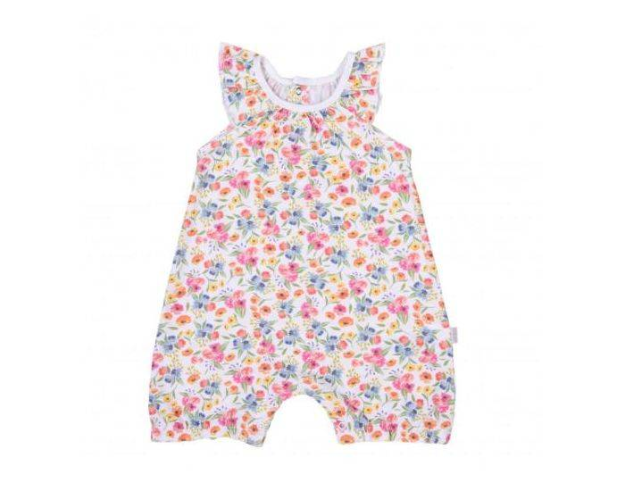 SEVIRA KIDS Combishort Bébé Fille en Coton Bio, Fleurs 9-12M - 74CM