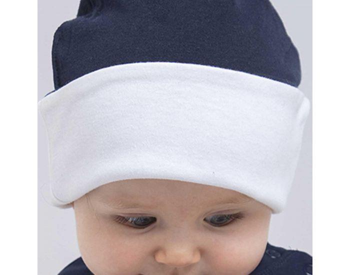 MADE IN BIO Bonnet Coton Biologique Bébé - Dungonab Blanc/Bleu