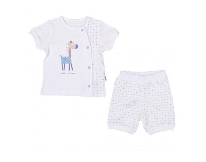 SEVIRA KIDS Ensemble t-shirt et short bébé en coton bio, Girafe 9-12M - 74CM