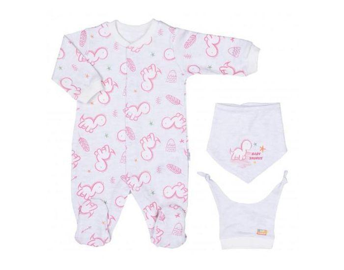 SEVIRA KIDS Pyjama Bébé avec Bandana et Bonnet en Coton Bio, BABYSAURUS Rose NAISSANCE - 50CM