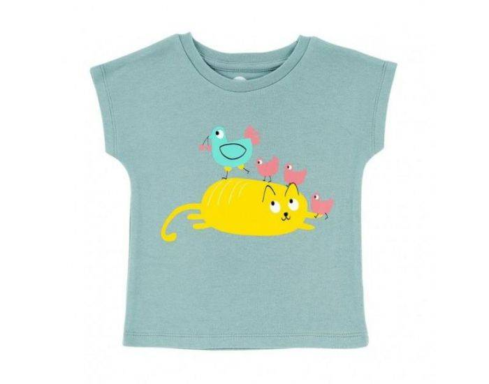 "LA QUEUE DU CHAT T-Shirt Bébé Bio ""Cocotte et Poussins"" 6 mois"
