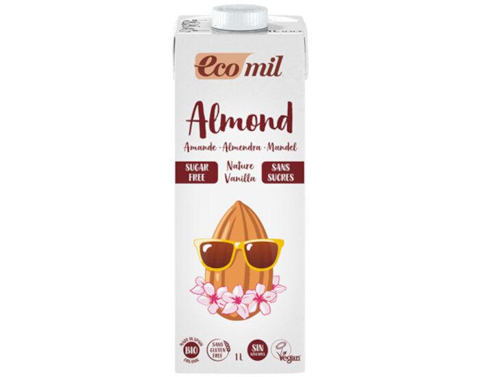 ECOMIL Lait Amande Vanille Bio Nature - Sans Sucres - 1 L