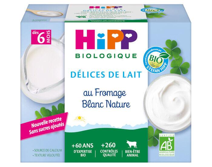 HIPP Délices de Lait Fromage Blanc Nature Sucré - Dès 6 mois - 4 x 100g