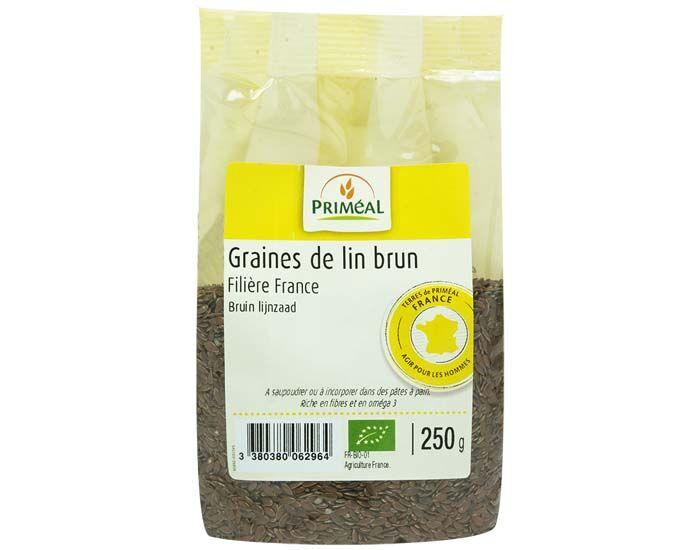 PRIMEAL Graines de Lin Brun France - 250 g