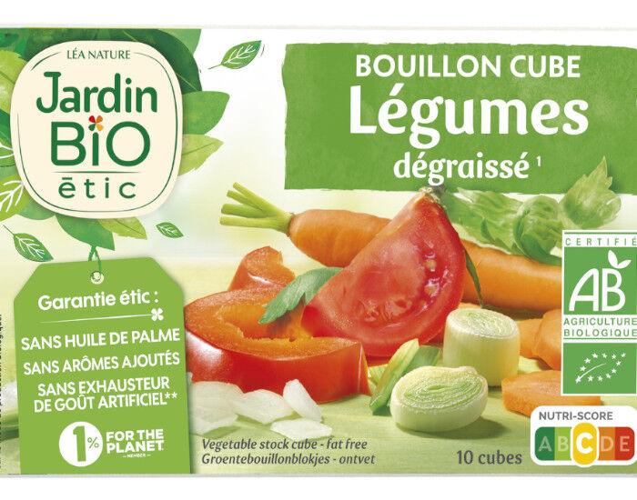 JARDIN BIO Bouillon Cube Légumes Dégraissé Sans Huile de Palme - 10 x 9 g