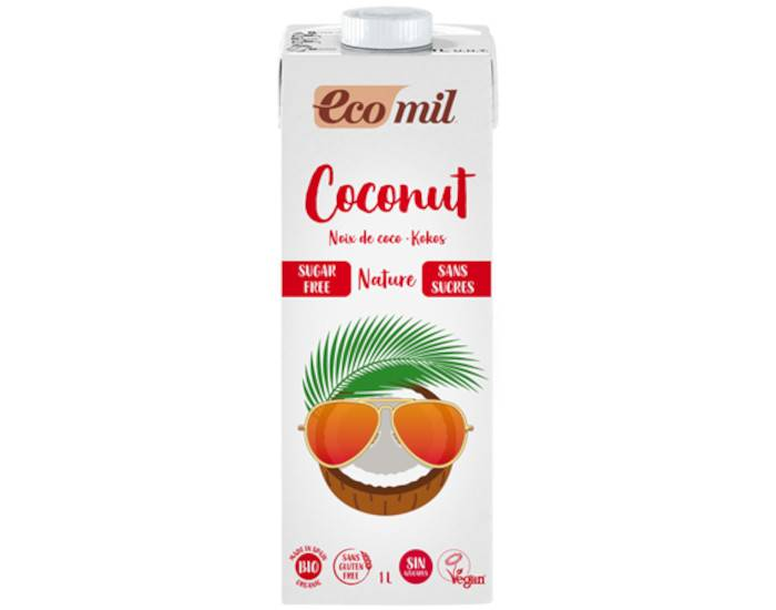 ECOMIL Lait de Coco Bio - Sans Sucres Ajoutés - 1 L