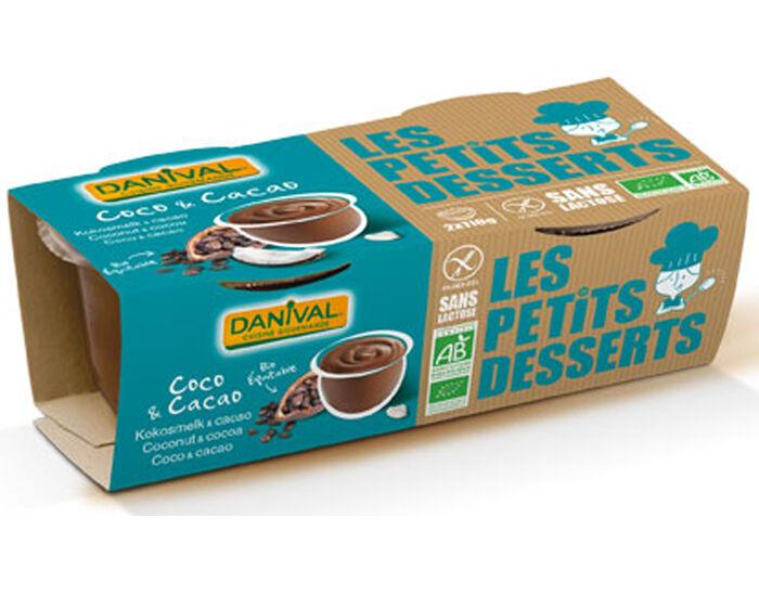 DANIVAL Dessert au Lait Végétal - Lait Coco Cacao - 2 x110 g