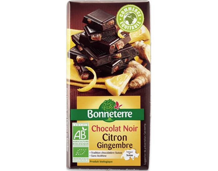 BONNETERRE Chocolat Noir Citron Gingembre - 100g