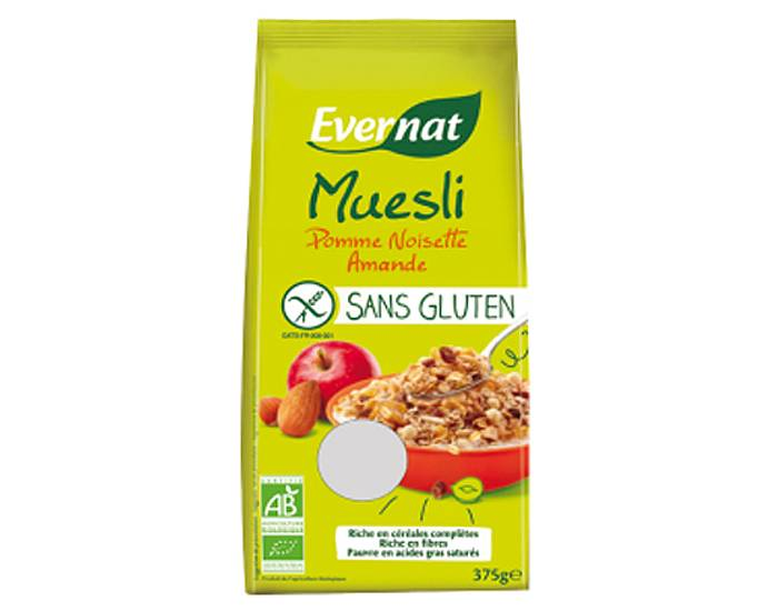 EVERNAT Muesli Pomme Amande Noisette Sans Gluten - 375 g