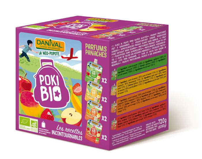 DANIVAL Poki Bio - Pack de 8 Gourdes 4 Parfums Panachés - 8 x 90 g