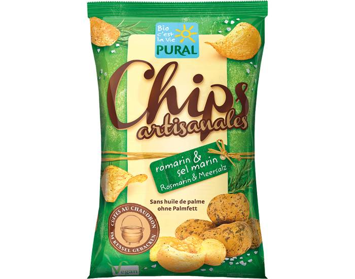 PURAL Chips Artisanales Romarin et Sel Marin - 120 g