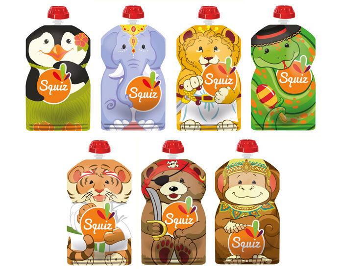 SQUIZ Lot de 7 Gourdes Souples Réutilisables - 130 ml